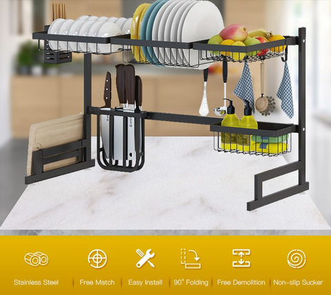 Over the sink drip dry kitchenware organizer and counter space optimizer that clearly shows product