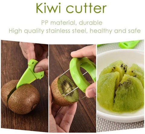 Showing how to use the no peeling and no cutting two second kiwi cutter