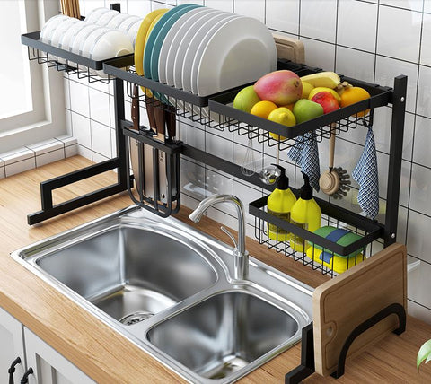 Over the sink drip dry kitchenware organizer and counter space optimizer