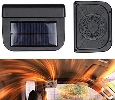 Solar power car cooler fan to keep car interior cooler in hot summer weather.