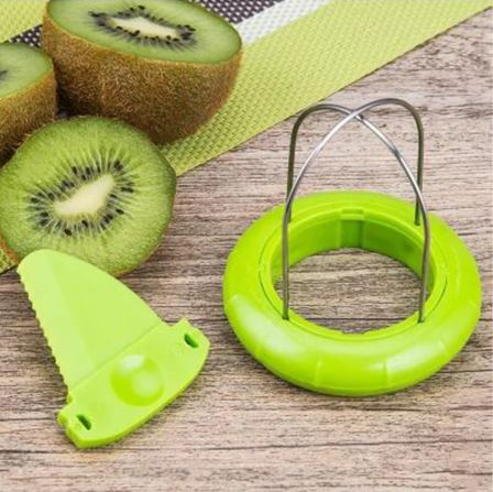 Kiwi cutter and knife next to kiwi and green mate