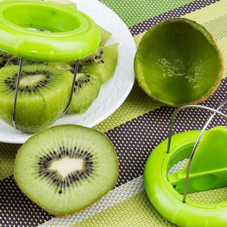 peeled kiwis with the no peeling and no cutting two second kiwi cutter