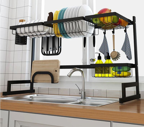 Over the sink drip dry kitchenware organizer and counter space optimizer with all the options