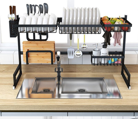 Over the sink drip dry kitchenware organizer and counter space optimizer full of dishes
