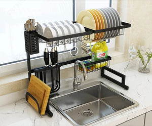 Diagonal view of the Over the sink drip dry kitchenware organizer and counter space optimizer