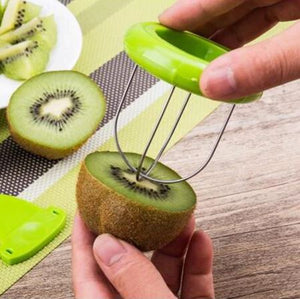 getting ready to slice kiwi with no peeling and no cutting two second kiwi cutter