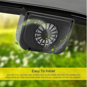 Solar power car cooler fan to keep car interior cooler in hot summer weather easy to install.