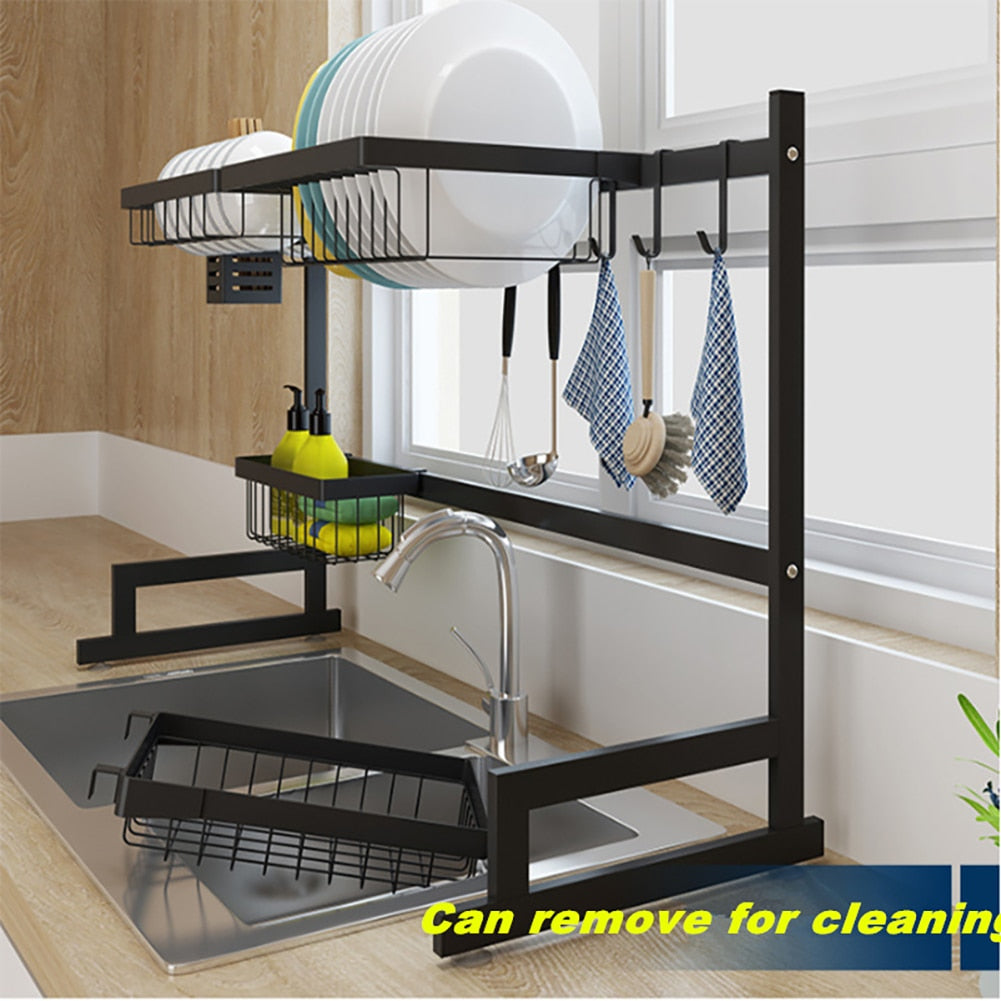 Over the sink drip dry kitchenware organizer and counter space optimizer side view