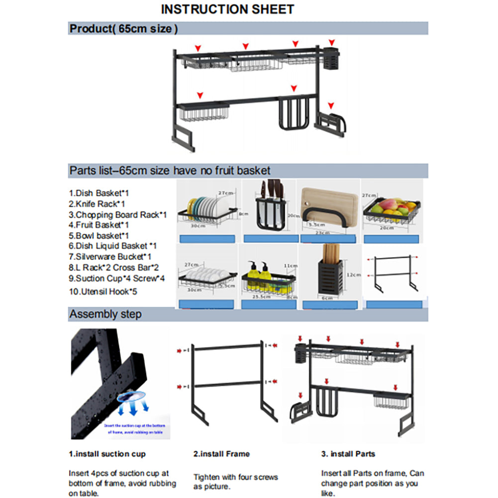 How to use the Over the sink drip dry kitchenware organizer and counter space optimizer instructions
