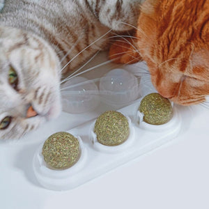 3pcs Catnip Ball Set Self-adhesive Rotated Catnip Silvervine Lick Ball For Cats Wall Mount Molar Teething Toy Pet Cat Supplies