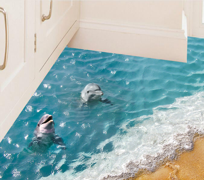 Decorative Dolphin Beach Floor Stickers