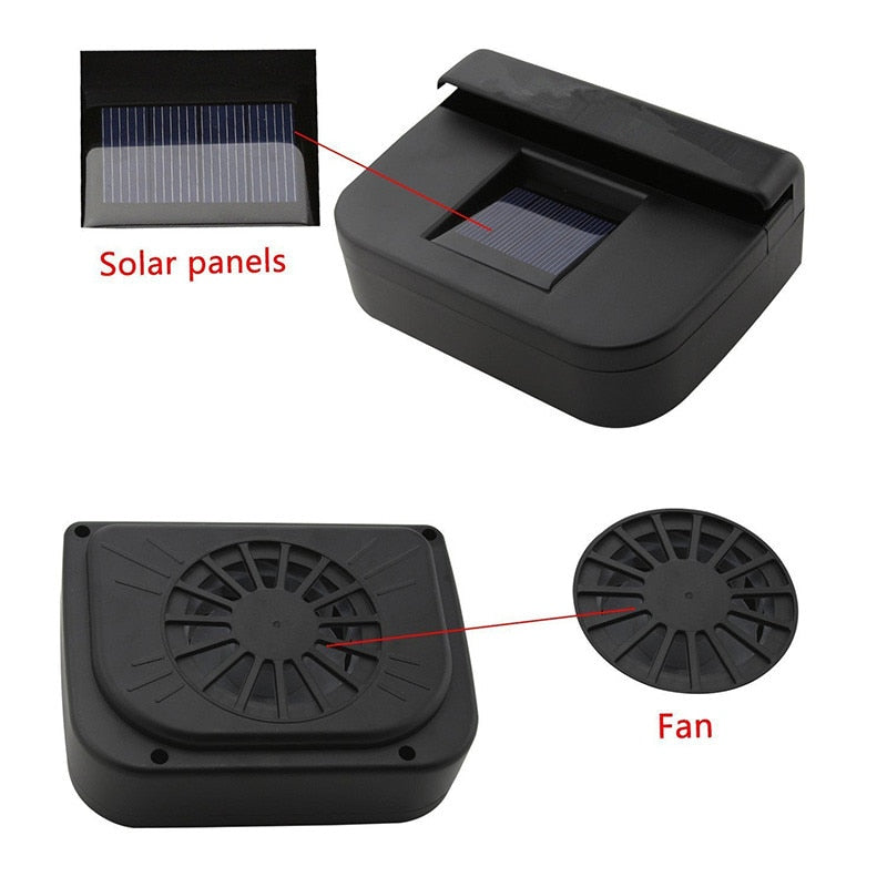 Whats incluided with the Solar power car cooler fan to keep car interior cooler in hot summer weather.