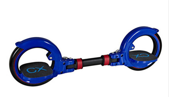 Blue and red two wheel freerider skateboard
