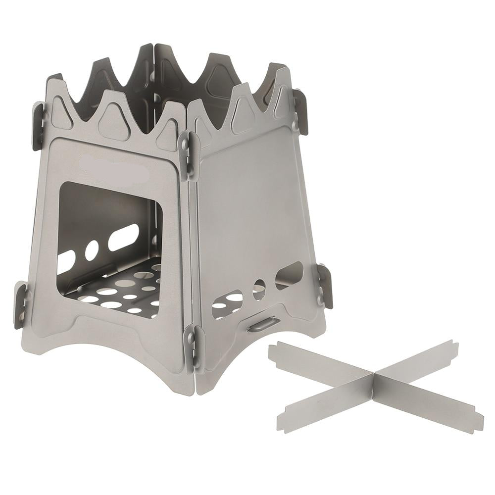 small wood burning portable camping survival stove with top cross bars for holding a pot or pan