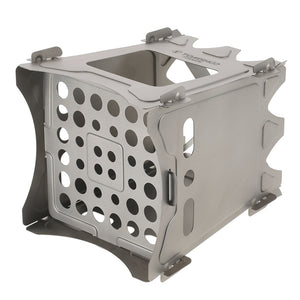 Bottom view of small wood burning portable camping survival stove with air holes