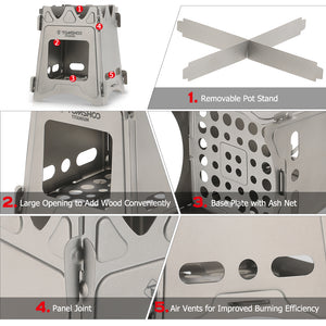 Different parts of small wood burning portable camping survival stove