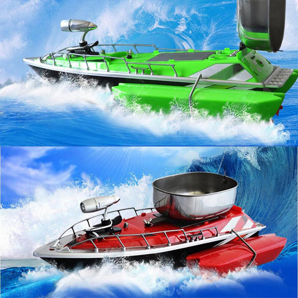 Green and red RC fishing boat with chum tray on top to attract more fish