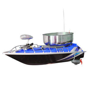 Blue RC fishing boat with chum tray on top to attract more fish