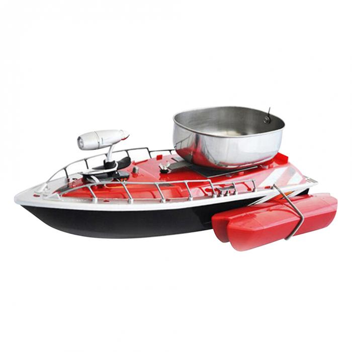 Red RC fishing boat with chum tray on top to attract more fish