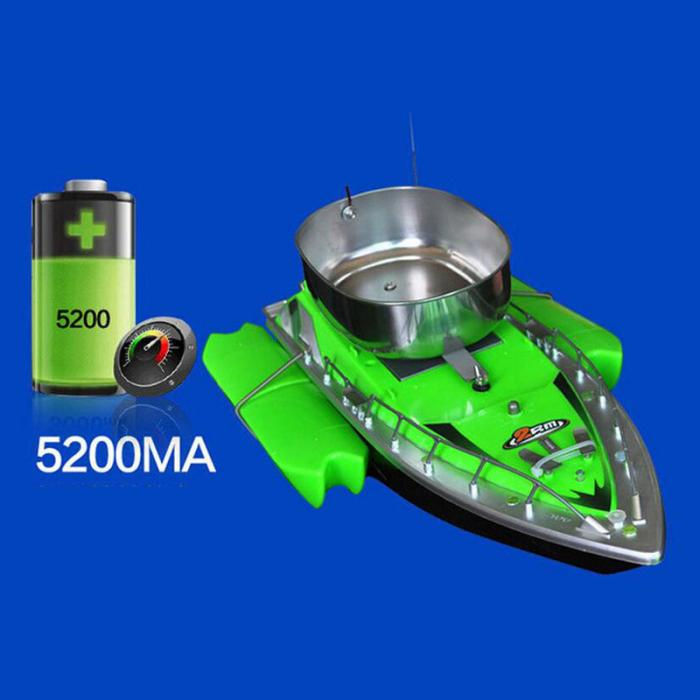 Green boat and battery of RC fishing boat with chum tray on top to attract more fish