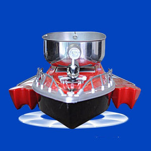 Front view or bow of RC fishing boat with chum tray on top to attract more fish