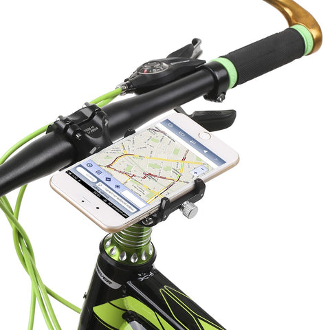bike phone mount with smart phone horizontal on handle bars