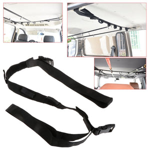 Product pictures of portable fishing rod straps for inside of car to carry your fishing poles and reels