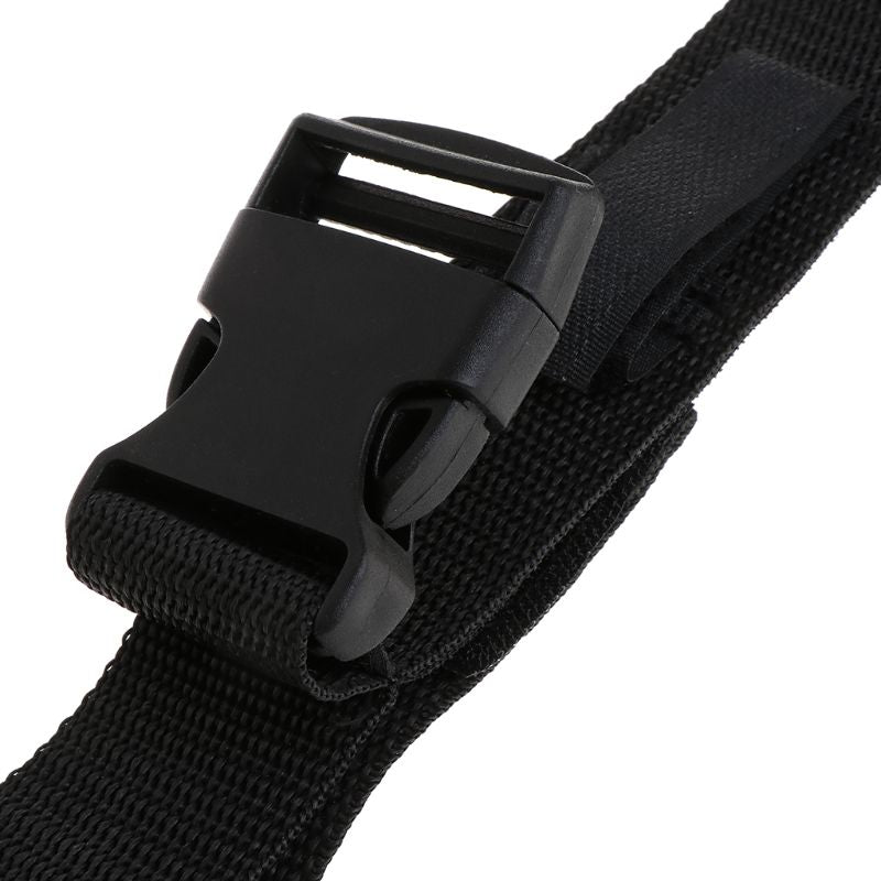Close up of buckle of portable fishing rod straps for inside of car to carry your fishing poles and reels