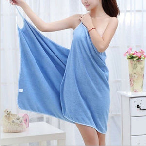 blue wearable towel that turns into a dress