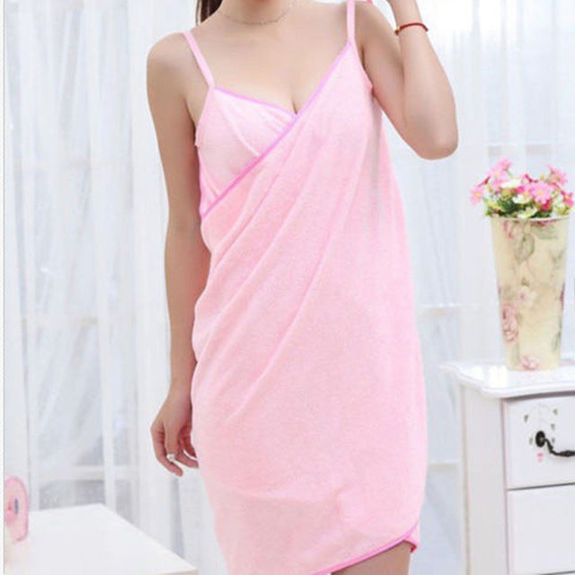 pink wearable towel that turns into a dress