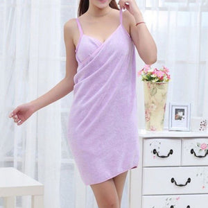 purple wearable towel that turns into a dress