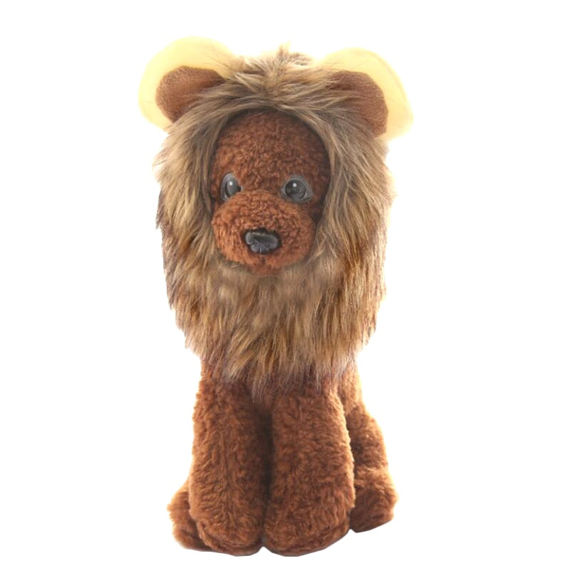 Dog stuffed animal with lion wig to show what the wig looks like on a dog.