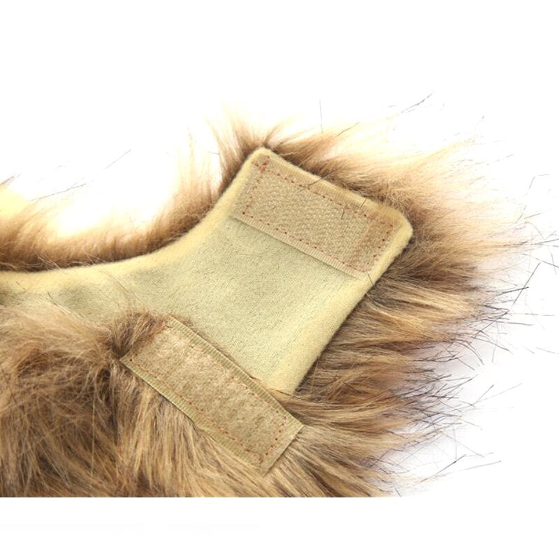 Up close view of the dog and cat lion wig, showing the Velcro straps.