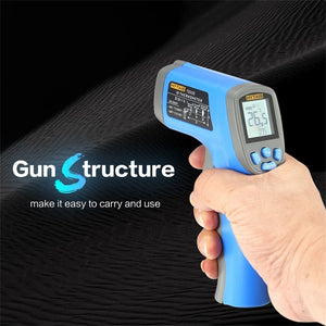 Laser thermometer digital gun structure with black background.