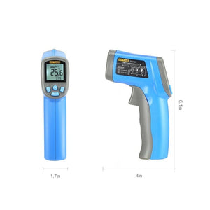 Laser thermometer digital gun screen and side view.