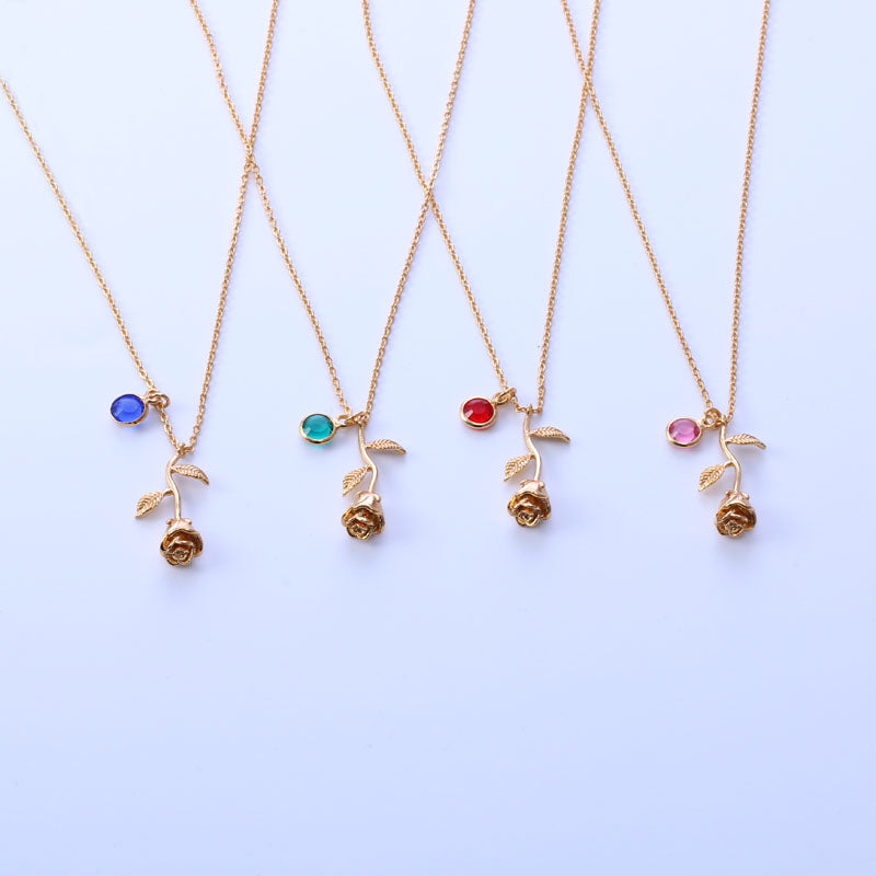 Rose Birthstone Necklace - Miss Maliboo