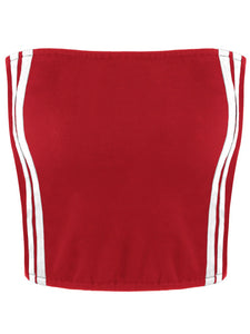 'Jasmine' Stripy Tube Top - Red - Miss Maliboo