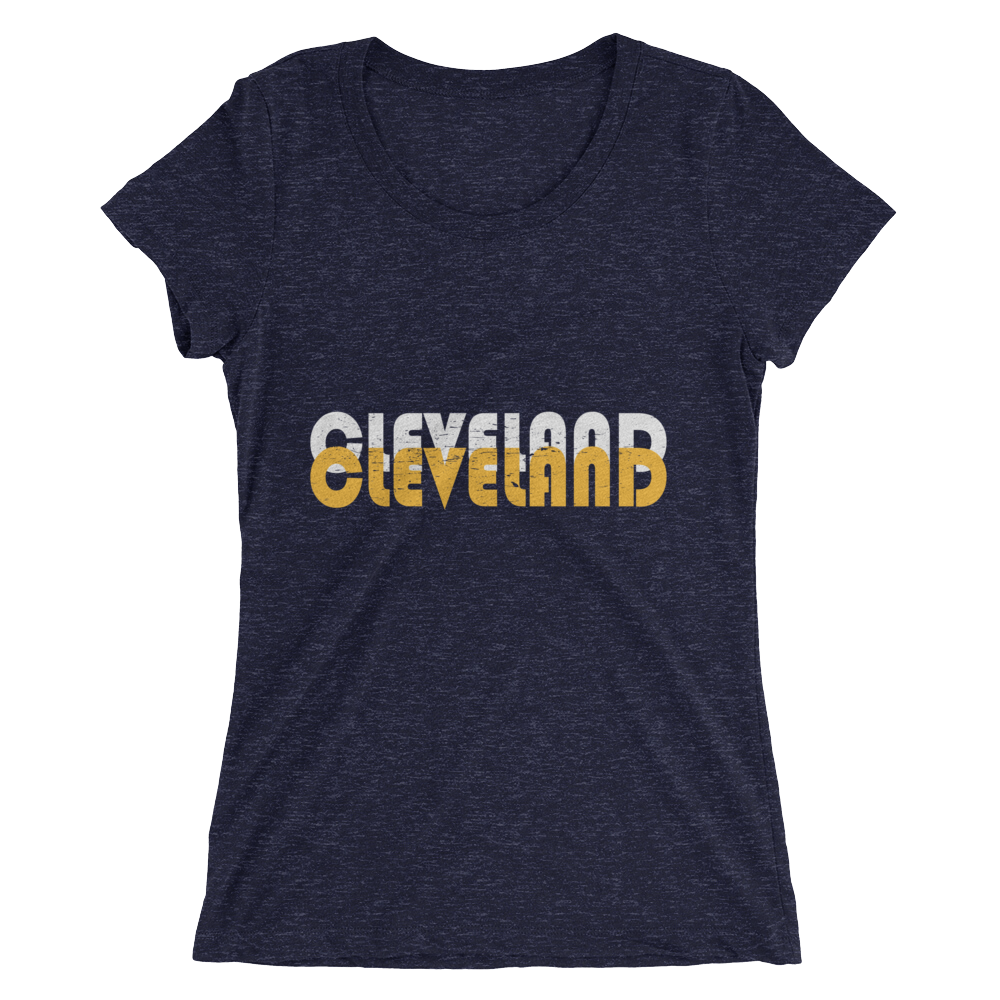 Double Cleveland White & Gold - Womens Tee