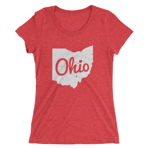 Ohio Map White - Womens Tee