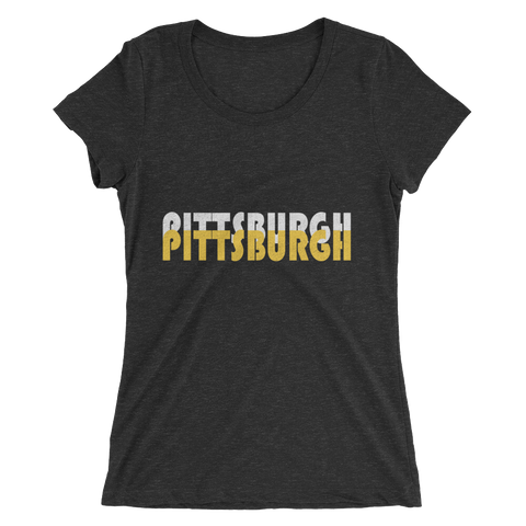 Double Pittsburgh White & Gold - Womens Tee