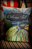 Fall Harvest LARGE pumpkin porch pillow rocker autumn WELCOME decor Thanksgiving