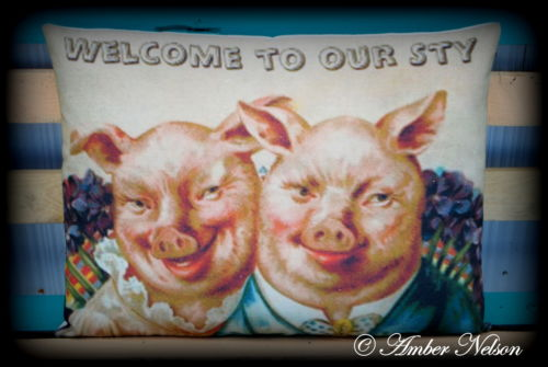 primitive antique Welcome to our Sty pigs pillow sign Mr Mrs Victorian farm