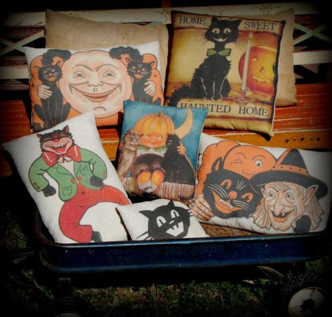 Halloween black cat primitive vintage look dancing smiling in costume pillow
