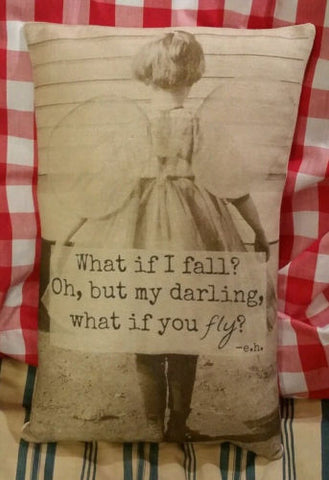 primitive antique what if I fall fly pillow inspirational gift encouragement