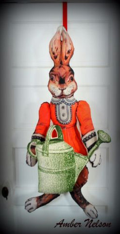 garden bunny rabbit door wall hanging porch sitter spring watering can Easter