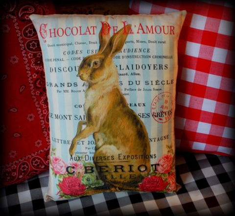 Valentines day red cottage roses rabbit Easter spring chocolates pillow blue