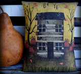 Farmhouse Fall Harvest Be Thankful cabin saltbox house pumpkin decorative pillow