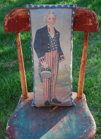 Patriotic 4th of July Uncle Sam American flag stars stripes pillow old antique