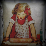 Christmas baking girl child cookies kitchen throw pillow vintage antique flour