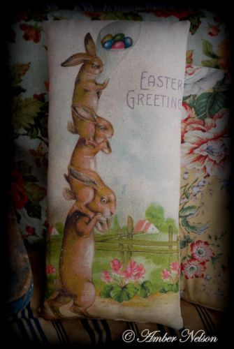 Easter eggs Spring Vintage antique Rabbit bunny hare stack piggy back primitive